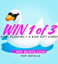 WIN 1 of 3 huge pool floaties + 100 gift card with 7 ways to Enter! Visit @bluenotesjeans on Facebook, Instagram, Pinterest, Snapchat, Twitter, bonus entry for subscribers and refer a friend for extra entries!