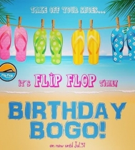 Like and share Flip Flop Shops (Regina) Facebook page for a BOGO 50% off storewide until Jul. 31! Show post in-store for deal!