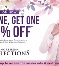 "Cheers #northernfriends! January just got so much better with your favourite #buyonegetone 50% OFF"" deal at Northern Reflections. Hurry in and gift yourself a little extra! Find outfits to celebrate spring or perfect for packing. Ask a #northernreflecti"
