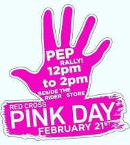Join us Feb21st and #imaginenobullying! Let get pumped up in #pink and show some support for #redcrosspinkday! Come down and purchase your Pink Gear from 12-2pm by The Rider Store! #besomeoneshero