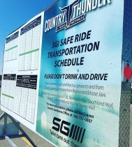 The SGI Safe Ride Buses will depart from @northgateyqr starting today just off Albert Street! First bus leaves at 4:30PM! #becravensafe 🎤🎶
