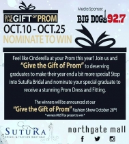 Nominate To Win @sutura.bridal and give a student the chance to WIN a STUNNING Prom Dress! #GiveTheGiftOfProm visit @sutura.bridal for all details! Nominations close Oct.25th 🎓