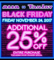 Receive 25% Off your ENTIRE PURCHASE this #blackfriday @aliantanjay #deals #dontmiss #yqr