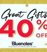 GREAT GIFTS SALE @ BLUENOTES! GIFTS FOR EVERYONE ON YOUR LIST AT 40% OFF!  @BLUENOTESJEANS #MYBLUENOTES Some exclusions may apply. See store associate for more details.
