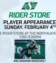 Come and catch #82 Naaman Roosevelt this Sunday at The Rider Store from 1p-3p 🏈💚@saskriders #ridernation #yqr #playerappearance