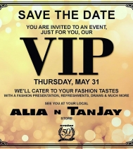 Save the Date 🗓 for a VIP Party at Alia n' Tanjay! MAY.31