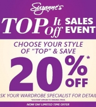 Top it Off Sale Event! 🏷 20% OFF your style of Top 👚 Ask your wardrobe specialist for details at Northgate Mall! Ends June 30th #sales #SuzannesStyle
