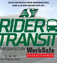 Today is @sskroughriders home opener against @torontoargos!🏈Why drive and hunt for parking when you can sit back and just ride? 🚌 💚🏈 #gameday #free #riders #yqr