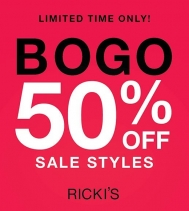 START THE CAR....🚘 RICKI'S SEMI-ANNUAL SALE IS ON NOW!  BOGO 50% OFF ON SALE STYLES FOR A LIMITED TIME. #bogo #sale #rickis