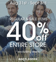 Labour Day Long Weekend Sale! 40% OFF Entire Store, excluding jeans.