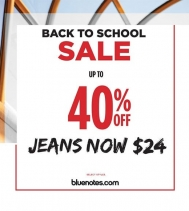 THE BLUENOTES BACK TO SCHOOL SALE! 🍎 UP TO 40% OFF ALL NEW ARRIVALS + JEANS NOW $24! 👖👖 Valid at select stores only. Some exclusion may apply. See Northgate Mall Bluenotes for details.