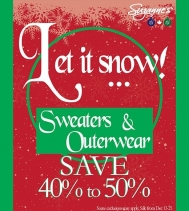 Shop Suzanne's Sweater & Outerwear Sale! ❄☃️❄ SAVE 40 TO 50% OFF Some exclusions may apply. #Suzannes #sale