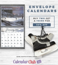 ALL ENVELOPE CALENDARS Buy any TWO get a THIRD 50% OFF Valid on Envelope Calendars $19.99 and over. Discount off the lowest priced item. Offer ends December 24th, 2018.