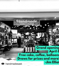 🎊Handmade Saskatchewan Grand Opening is tomorrow April 6th!🎊 They will be serving Free coffee ☕, and cake 🍰. The first 10 people to make purchases over $25 will receive free earrings! 🎉🎈Also all enter to WIN some AMAZING PRIZES DONATED by