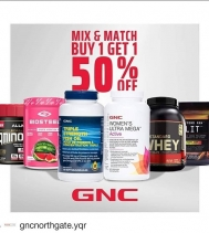 BIG WEEKEND STOREWIDE SALE!  April 12th to 14th: BUY ONE, GET ONE 50% OFF - MIX & MATCH your favorite STOREWIDE!! #GNCNORTHGATE #SALE