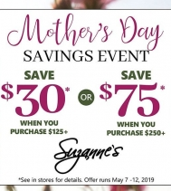 Mother's Day Savings Event at Suzanne's!! Inspiring Women to look and feel Beautiful!  Visit in store for all the details. #happymothersday #savings #shopping