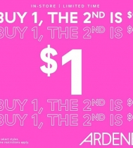 Shop Ardene's BOGO $1 Sale. Some restrictions apply. See in store for details.