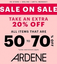 Save big @ardene with an extra 20% off all items that are 50% to 70% off! Restrictions apply. #ardenelove