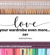 Let's add to that closet!  Love Your Wardrobe Event😍 starts Tomorrow! Shop and spend $25 and you're Entered to WIN a $250 Shopping Spree! As a BONUS, we also have 10 Mini Sprees to give away!  Ends Feb.14 #loveyourwardrobe @northgateyqr  Visit👇�