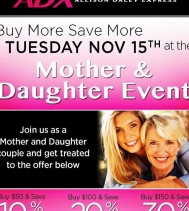 Buy More Save More ~ Nov.15th Mother & Daughter Event at Alia n' Tanjay!