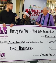 @northgateyqr is very excited to present this $1,000 donation to the @carmichaeloutreach #BundleofJoy @ctvreginalive