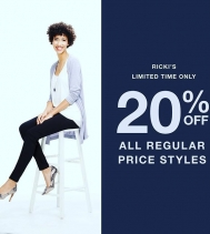 20% off Regular Price Limited Time Only at Rickis! Ends Jan.30!