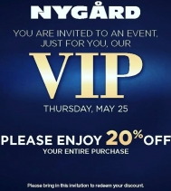 #VIP just for you! 😘... Show 💌invite in-store to redeem your discount at Alia n Tanjay May.25!