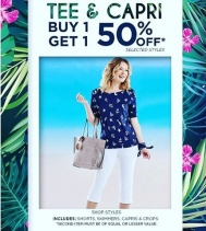 Just in time ☀️for the warm spring weather! BOGO 50% OFF on selected styles of Tee's & Capris! Ends May.27 📍Alia n Tanjay