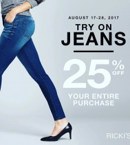 Try On Jean Event! 👖👖👖Try a pair on and receive 25% off your entire purchase 🛍! Aug.17 to Aug.28! @rickisfashion #denim #jeans #savings #summer