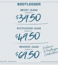 Bring on the new school year 🍎and the Denim 👖👖👖with AMAZING deals on Bootlegger Jeans! Sign up and become a Bootlegger Cardholder to receive special perks throughout the year! Just ask our staff! #denim #backtoschool #deals #shopping #yqr @nor