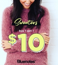 Sweaters..BOGO $10! -- we've got cozy sweaters for you and your BFF! #mybluenotes @bluenotesjeans *Some exclusions may apply