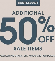 50% OFF Sale Items @bootleggerjeans @northgate_bootiecrew 😉*excluding jeans*