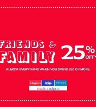 Celebrate our friends and family event and save 25% off when you spend $50 or more. Exclusions apply - Ends Nov.5