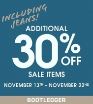 INCLUDING JEANS >>>Receive an additional 30% off Sales Items until Nov.22nd! @bootleggerjeans @northgate_bootiecrew #yqr #denim 👖👖👖👖👖👖👖