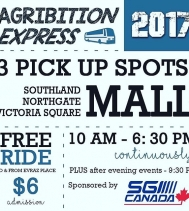 Heading to @agribition next week? Be sure to take the Agribition Express from @northgateyqr! It's FREE!! PLUS with your ride your gate admission is ONLY $6 - Cool Beans! 😎 #CWA17 #yqr #rodeo #safe #express 🚌🐎🐃