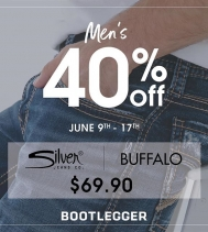 Men's 40% Off Sale!! 👖40% off men's Silver & Buffalo jeans at Northgate Mall.👖 June 9th - June 17th @northgate_bootiecrew @bootleggerjeans