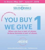 National Go Barefoot Day!  When you buy a pair of shoes, Ardene donates a pair of shoes. @ardene