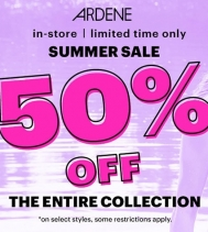 🏖☀️👙 In-store, Limited time only! Summer Sale 50% OFF the entire collection. ⛱☀️ @ardene