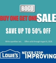 Lowe's has a great BOGO sale happening until August 8!  BUY ONE GET ONE SALE on variety of products. Stop into Lowe's today, while quantities last!  #buyonegetone #bogo
