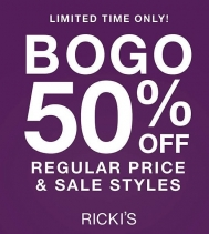 BOGO 50% OFF (ALMOST) EVERYTHING! Ready...Set... BOGO! For a limited time, buy one, get one 50% off regular price and sale styles. Some restrictions apply. See in store for details.