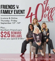 Friends & Family ENJOY 40% OFF including Newest Arrivals on September 13th & 14th @northernreflections! Visit In-store Today Northgate Mall!  #northernfriendsevent #northernfriends #northern #friendsandfamily #shoppingevent #fallcollection