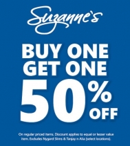 BUY ONE, GET ONE 50% OFF!! Some Restrictions Apply.  See in store for details at Northgate Mall. #Suzannes #SuzannesStyle