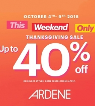 Thanksgiving Sale at Ardene.  UP TO 40% OFF! 🎉  Some restrictions apply #ardenelove #thanksgivingsale
