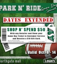 Reminder to bring your October 8th game ticket to Northgate Mall this weekend. Shop N' Spend $50, Game Day Special! 🏈💚 Visit Customer Service for all details. VALID Oct. 8th - 14th #shopandspend50 #gamedayspecials #ridernation