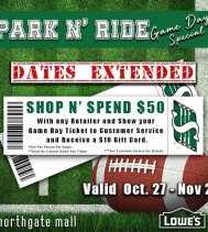 Parking at the Northgate Mall tomorrow for the Rider Game?! 🏈🏈 Stop in and take advantage of our Game Day Special! Visit Customer Service for all the details. 🏈🏈 #ridernation #shopandspend50 #riders #gamedayspecials