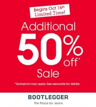Limited Time!! Additional 50% Off Sale at Bootlegger! Exclusions may apply. See associate for details. Hurry In! Sale Ends November 7th. @northgate_bootiecrew  #sale #bootlegger