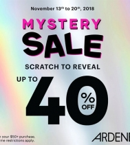 Mystery Sale November 13 to 20 at Ardene! Scratch to reveal up to 40% off your $50+ purchase. Some restrictions apply. #ardenelove