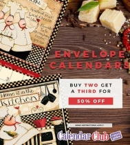 All ENVELOPE CALENDARS Buy any TWO get a THIRD 50% OFF Valid on Envelope Calendars $19.99 and over. Discount off the lowest priced item. Offer Ends November 7th, 2018. #calendars