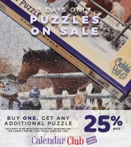 3 days only Puzzles on sale BUY one get a second 25% OFF. Excludes Mind Bogglers Category. Discount on the lowest priced item.