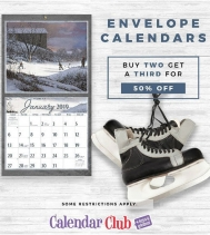 All Envelope Calendars Buy any Two get a Third 50% Off. Valid on Envelope Calendars $19.99 and over. Discount off the lowest priced item. Offer ends December 5th, 2018.